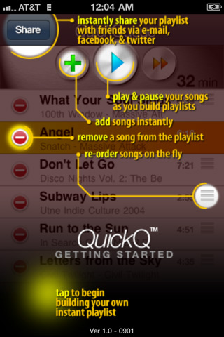 QuickQ audio player iPhone app from Mobomo